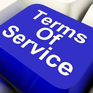 Terms of service button: our disclaimer included