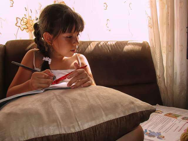 Picture of young girl on couch looking over some apparent school work. Homeschooling is the smartest option for teaching kids. It is certainly better than the compulsory monopoly mass public schooling model that we are all forced to pay for at any rate!